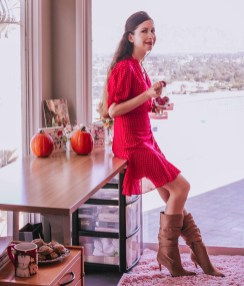 Valentine's Day Red Dress Brown Boots Outfit and the Red Velvet Cookie Dough Recipe!