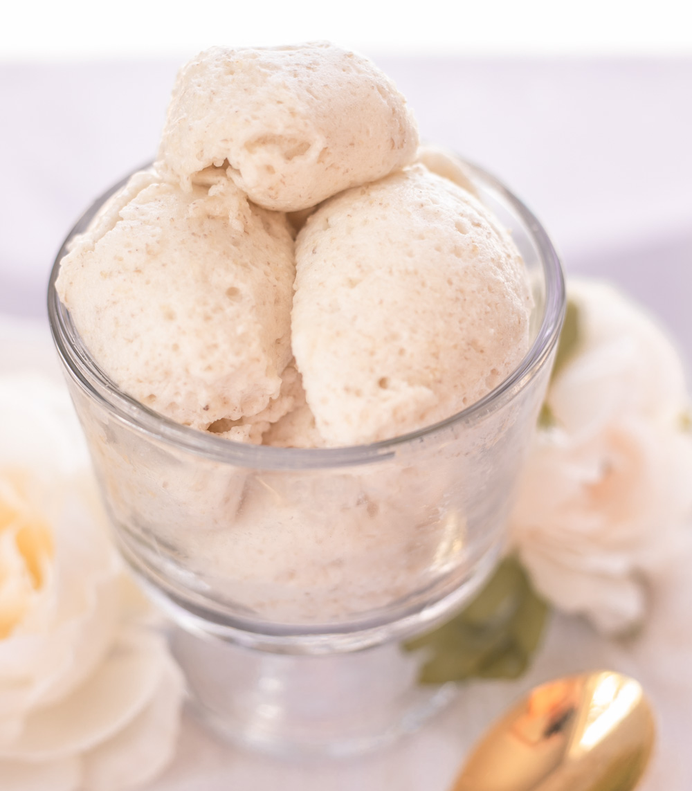 The Low-Calorie Banana Meringue Ice Cream Recipe for a treat that's all-natural, high-protein (no protein powders!) easy, quick to make, healthy and super-yummy!