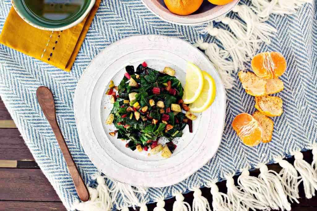 kohlrabi & rainbow chard saute with almonds & dill | via sweet miscellany