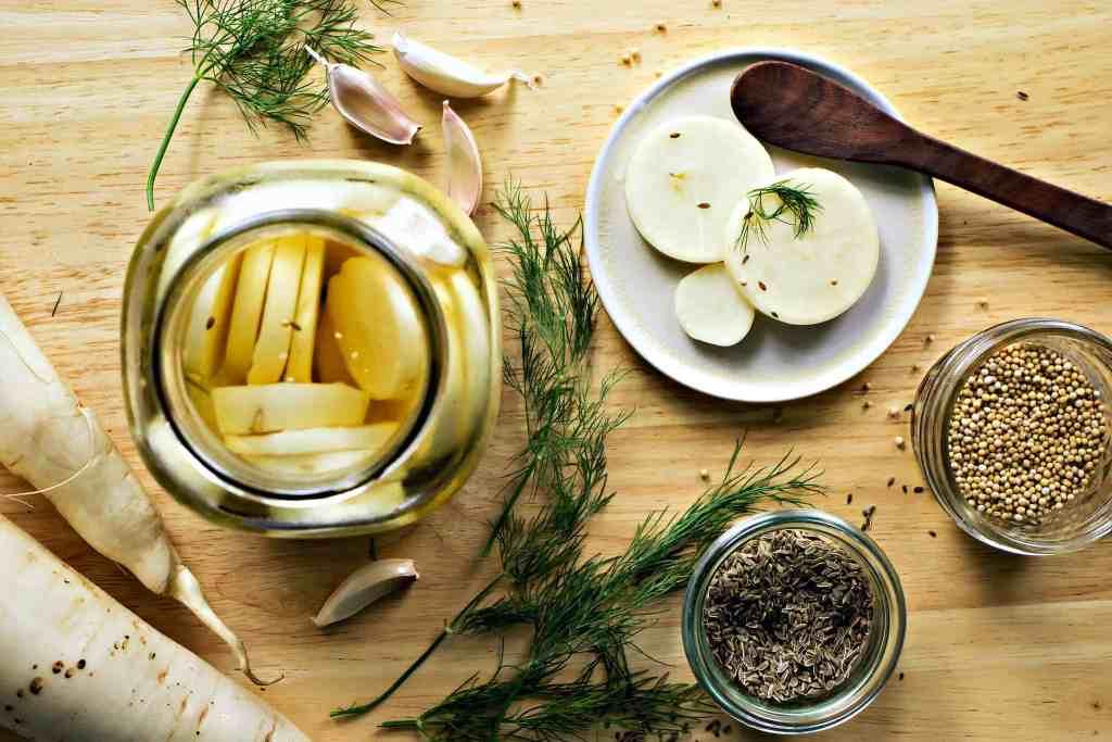 loam collaboration: dill pickled daikon radish | plant based recipes via sweet miscellany