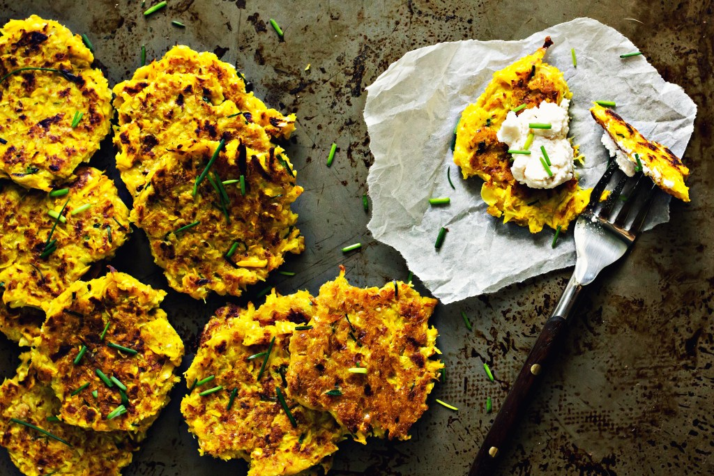 loam collaboration: curried coconut squash fritters | plant based recipes via sweet miscellany