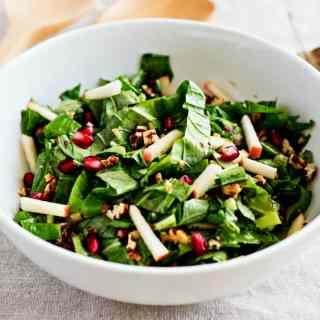 loam collaboration: tendergreen salad with maple dijon vinaigrette | grain free & vegan recipe by sweet miscellany