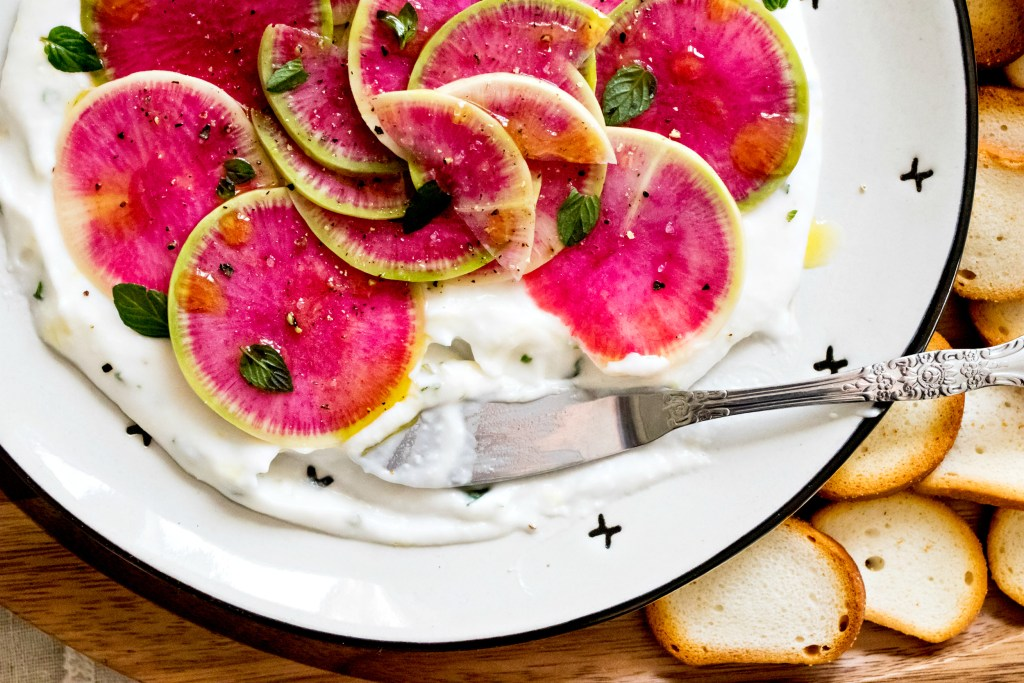 Loam Collaboration: Watermelon Radish Carpaccio with Lemon Mint Yogurt   plant based gluten free goodness via sweet miscellany