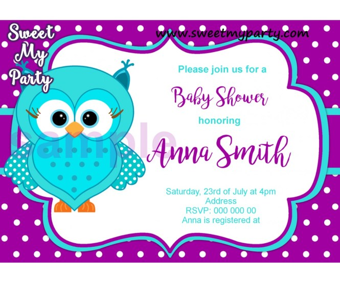 Turquoise Purple Owl Baby Shower Invitation 002