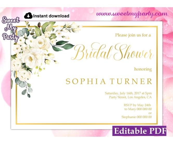 Ivory Roses Bridal Shower Invitation