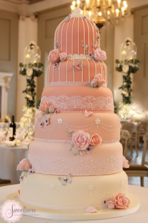 Birdcage wedding cake, London wedding cakes, Ombre wedding cakes