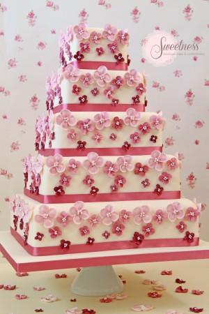 Hydrangea wedding cakes, London wedding cakes, London wedding cake company, ombre wedding cakes