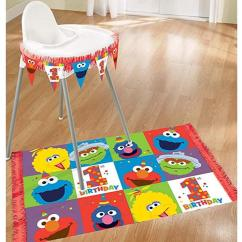 High Chair Floor Mat Nz Reclining Wingback Covers Elmo Turns One Decorating Kit