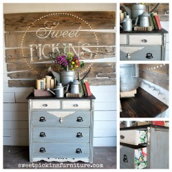Sweet Pickins Milk Paint - Galvanized with a dark wax