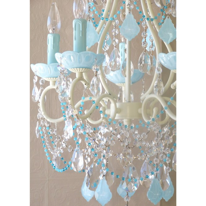 5 Light Beaded Chandelier With Opal Aqua Blue Crystals Thumbnail 1