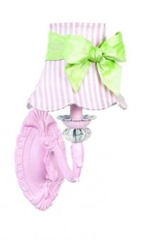 Pink Turret Wall Sconce shown with Pink Striped Shade by