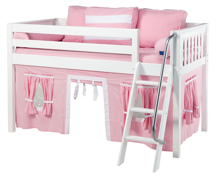 maxtrix pink and white tent bed in white slat bed ends 300 1