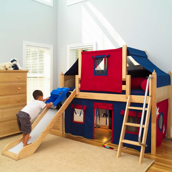 2 story play fort low loft bed w slide by maxtrix kids blue red on natural 320 2