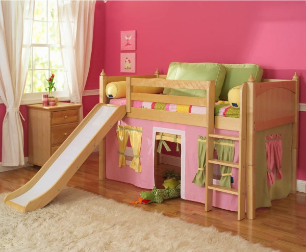 Girl Kids Loft Bed with Slide