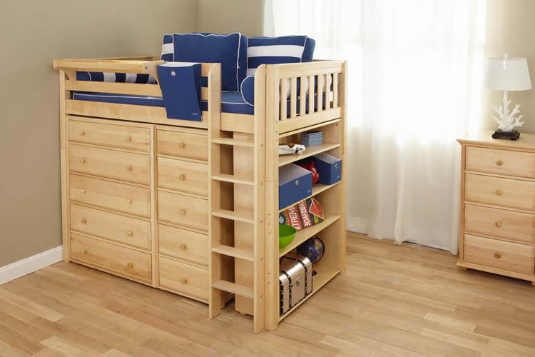 Maxtrix Kids HIGH Loft Storage Bed Natural 664