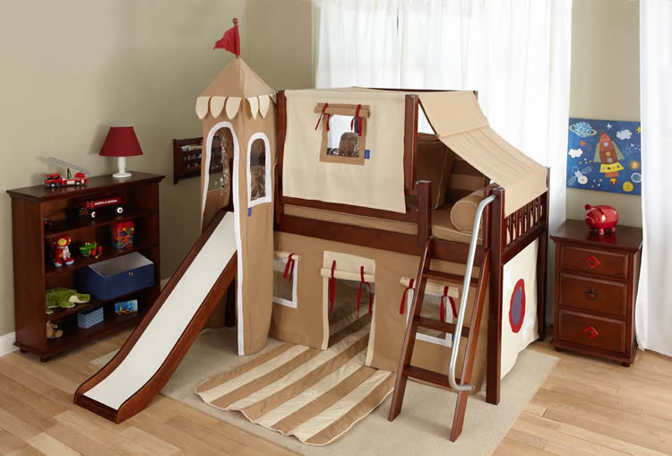 Boy39s Castle Bed With Slide By Maxtrix Kids Khaki Red 370