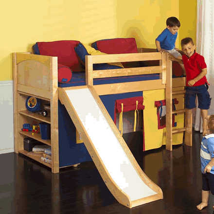 play fort low loft bed w slide by maxtrix kids blue red yellow on natural 320 1