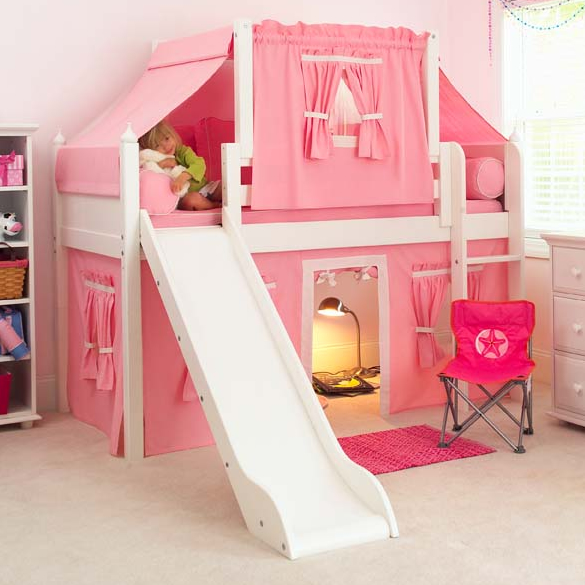 2 story playhouse low loft bed w slide by maxtrix kids pink white on white 320 2