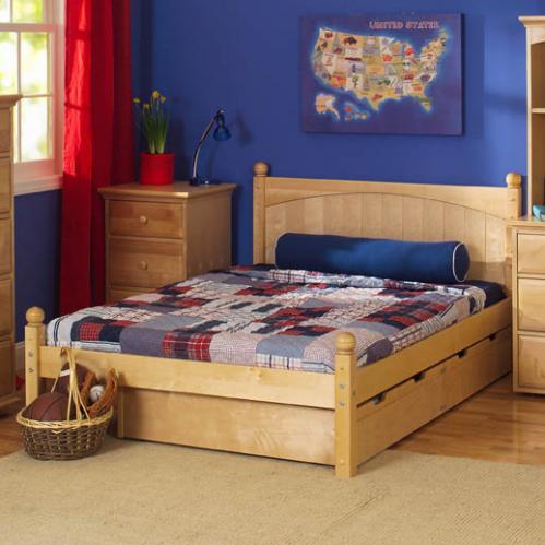 Platform Bed in Natural by Maxtrix shown w storage drawers 205