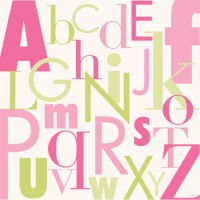 Modern Numbers, Pink & Green by Oopsy daisy