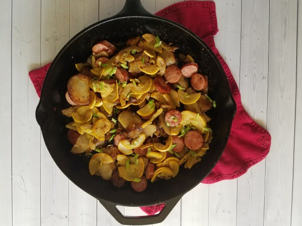Spicy Summer Sausage Skillet