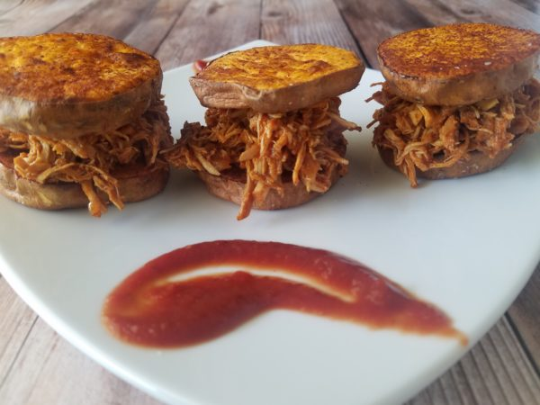Plated BBQ Chicken Sliders
