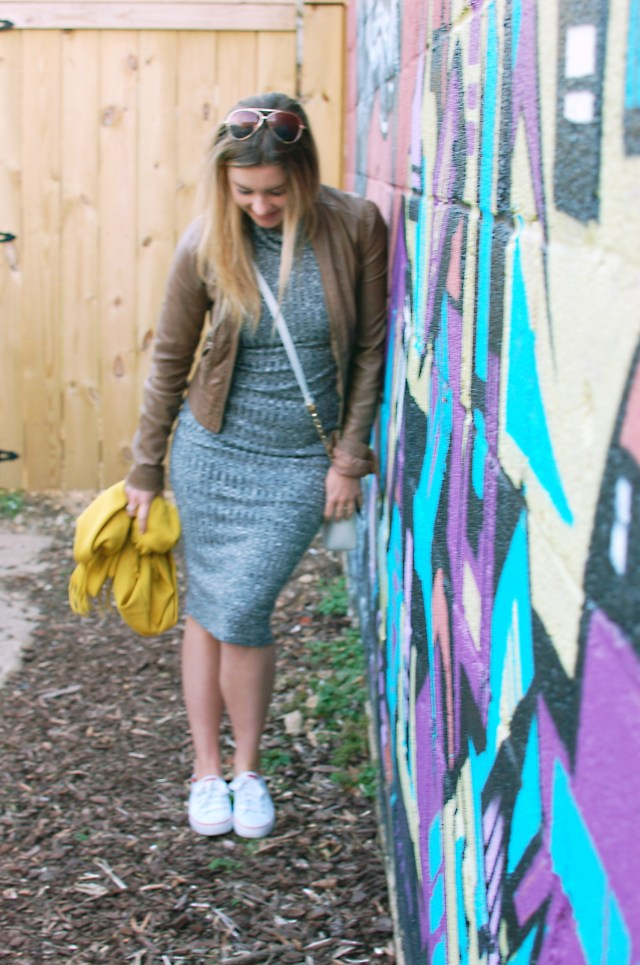 brown leather jacket and midi dress outfit