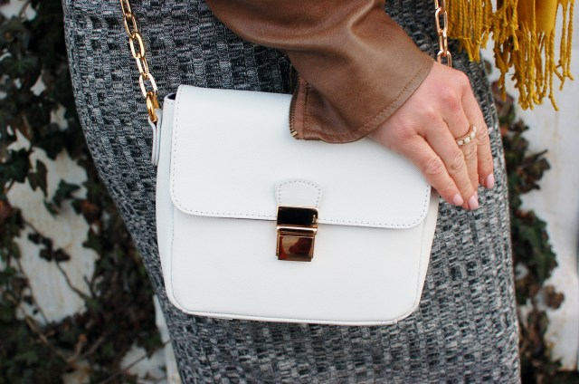 white and gold cross body bag