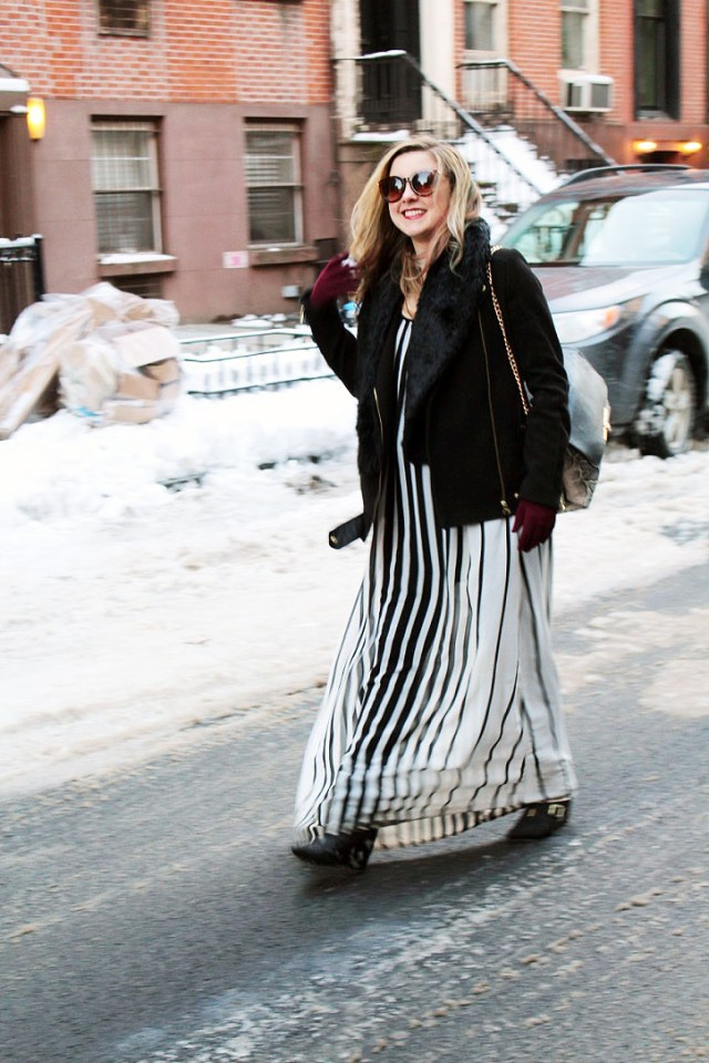 how to wear maxi during winter
