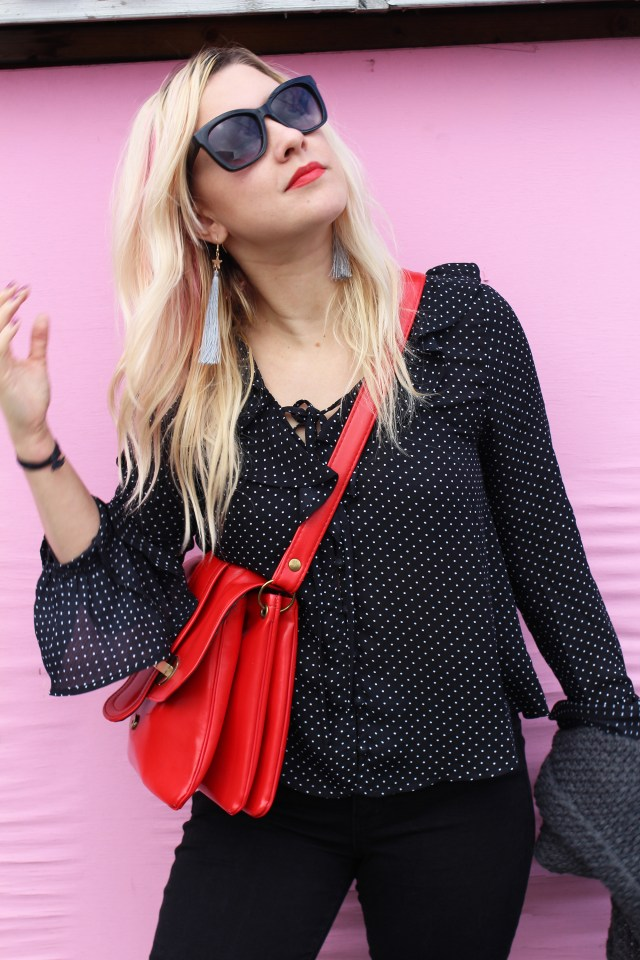 polka dots on bell sleeve blouse