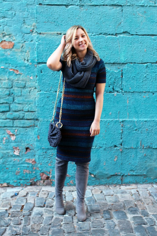 blue and brown striped sweater dress