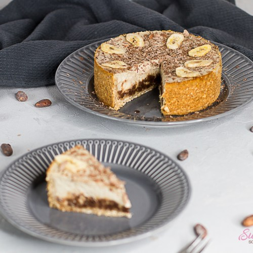 Bananen-Schoko-Cheesecake angeschnitten