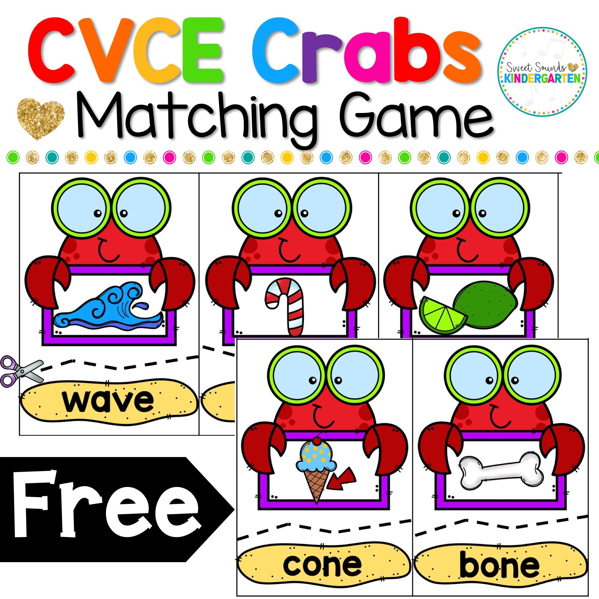 Cvce Crabs Matching Game Freebie