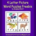 4 Letter Picture Word Puzzles Freebie by Gramma Elliott