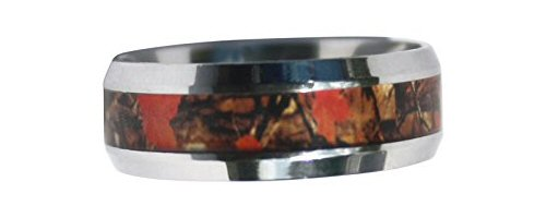 Looking For a Unique Wedding Band? Check Out This Wild Amber Blaze Orange Camo Ring!