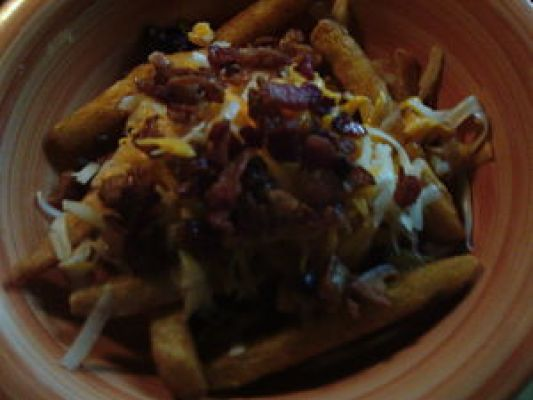 Some Bacon Cheesy Fries I made this weekend using Ore-Ida Crispers. After putting it together I just covered for a minute to melt the cheese.