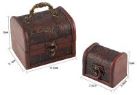 Valdler's Antique Wooden Embossed Flower Pattern Jewelry Boxes