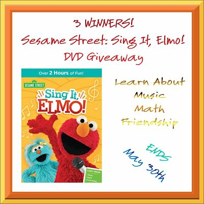 3 WINNERS – Sesame Street: Sing It, Elmo! DVD Giveaway Ends 5/30/16