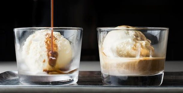 Affogato Milkshake Recipe - Inspired by the Italian coffee-based dessert this easy to make hazelnut, chocolate, and coffee milkshake is the perfect grown-up treat on a hot summer day.