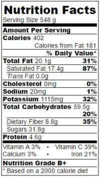 choconut skinny breakfast smoothie nutritional information