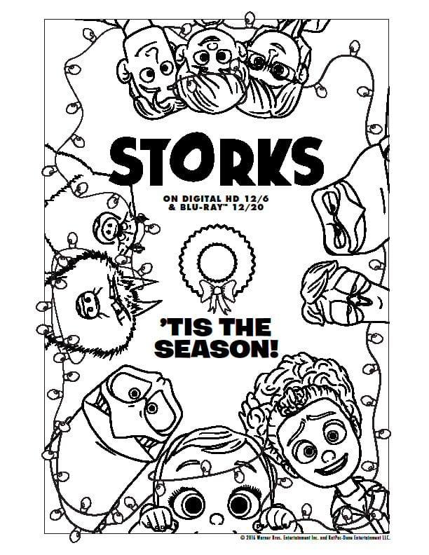 Storks Printable Activity Sheets, Gift Tags, Coloring