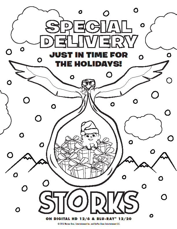 Storks Printable Activity Sheets, Gift Tags, Coloring