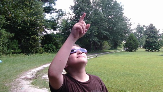 Magsbud Solar Eclipse Viewing Glasses Pointing at Sun