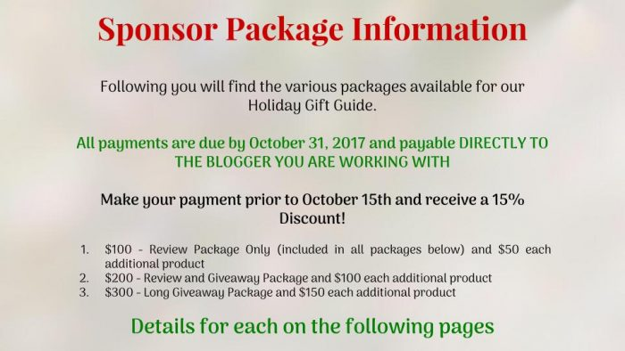 2017 Holiday Gifts Guide Sponsor Information