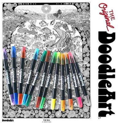 The Orginial DoodleArt by PlaSmart THE SEA & Markers Button
