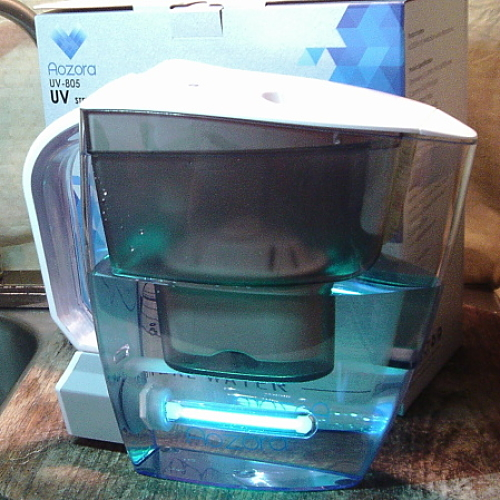 Aozora Water Purifier Pitcher with Patented UV Disinfection Light