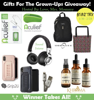 Gifts For the Grown-Ups Giveaway! Over $182 in Prizes! Ends 2/28
