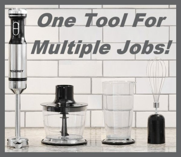 Tenergy Immersion Blender One Tool For Multiple Jobs - This Immersion Blender Set is the ALL-IN-ONE KITCHEN TOOL
