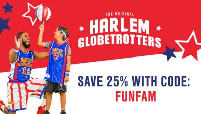 SAVE 25% for ALL Harlem Globetrotters Games with promo code FUNFAM