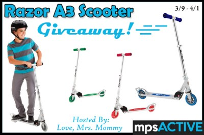 Winner's Choice of Razor A3 Scooter Giveaway Ends 4/1